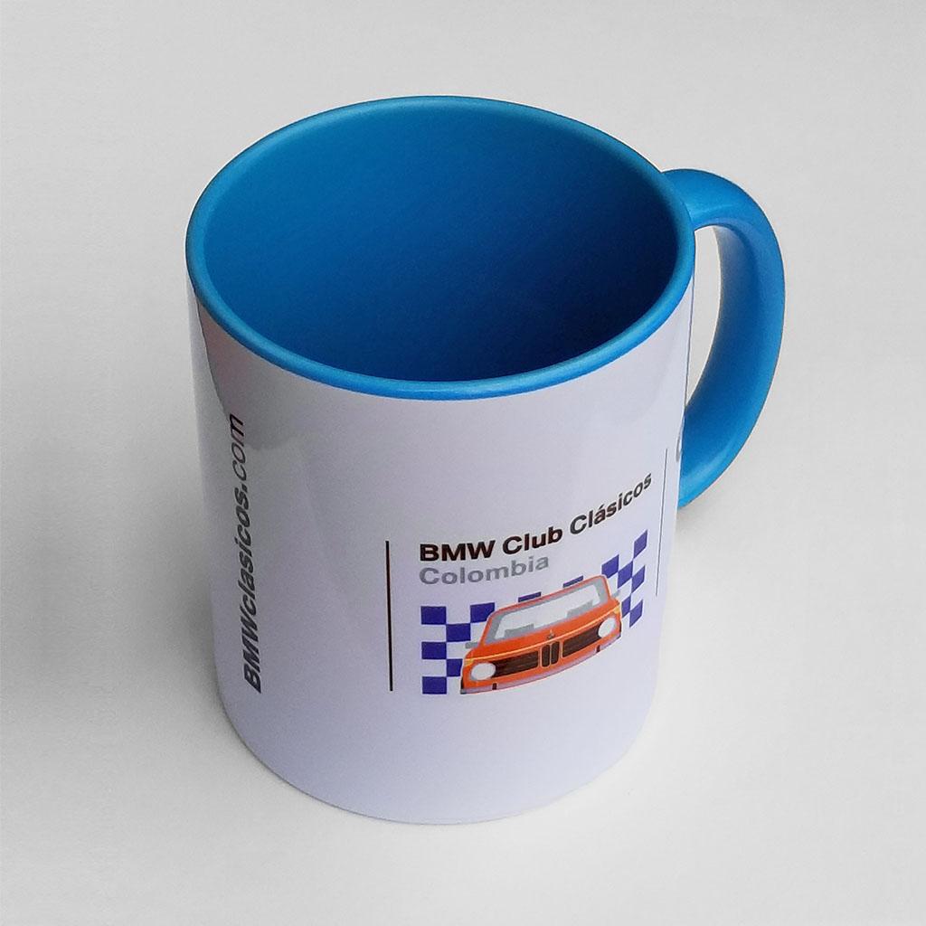 Mug Cerámica Redondo blanco/azul